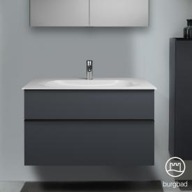 Burgbad Fiumo Waschtisch mit Waschtischunterschrank mit 2 Auszügen Front graphit softmatt / Korpus graphit softmatt, Griffleiste schwarz matt