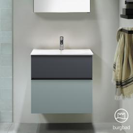 Burgbad Fiumo Waschtisch mit Waschtischunterschrank mit 2 Auszügen Front eisblau softmatt/graphit softmatt / Korpus eisblau softmatt