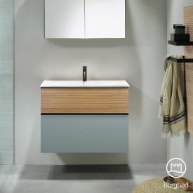 Burgbad Fiumo Waschtisch mit Waschtischunterschrank mit 2 Auszügen Front eisblau softmatt/tectona zimt dekor / Korpus eisblau softmatt