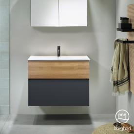 Burgbad Fiumo Waschtisch mit Waschtischunterschrank mit 2 Auszügen Front graphit softmatt/tectona zimt dekor / Korpus graphit softmatt