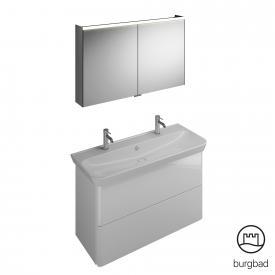 Burgbad Iveo Waschtisch mit Waschtischunterschrank und Spiegelschrank Front weiß hochglanz / Korpus weiß hochglanz