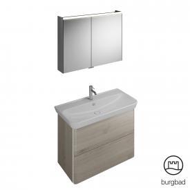 Burgbad Iveo Waschtisch mit Waschtischunterschrank und Spiegelschrank Front eiche flanelle dekor / Korpus eiche flanelle dekor