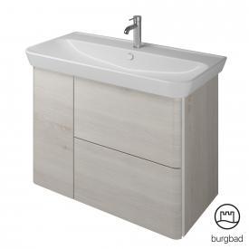 Burgbad Iveo Waschtisch mit Waschtischunterschrank mit 2 Auszügen und 1 Tür Front eiche merino dekor / Korpus eiche merino dekor