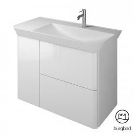 Burgbad Iveo Waschtisch mit Waschtischunterschrank mit 2 Auszügen und 1 Tür Front weiß hochglanz / Korpus weiß hochglanz