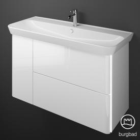 Burgbad Iveo Waschtisch mit Waschtischunterschrank mit LED-Beleuchtung mit 2 Auszügen und 1 Tür Front weiß hochglanz / Korpus weiß hochglanz