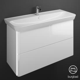Burgbad Iveo Waschtisch mit Waschtischunterschrank mit LED-Beleuchtung mit 2 Auszügen Front weiß hochglanz / Korpus weiß hochglanz
