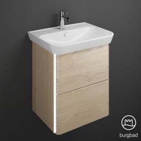 Burgbad Iveo Waschtisch mit Waschtischunterschrank mit LED-Beleuchtung mit 2 Auszügen Front eiche cashmere dekor / Korpus eiche cashmere dekor