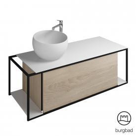 Burgbad Junit Aufsatzwaschtisch mit Waschtischunterschrank mit 1 Auszug Front eiche cashmere dekor / Korpus eiche cashmere dekor