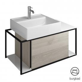 Burgbad Junit Aufsatzwaschtisch mit Waschtischunterschrank mit 1 Auszug Front eiche flanell dekor / Korpus eiche flanell dekor