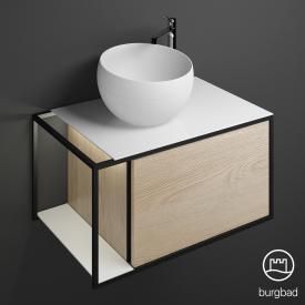 Burgbad Junit Aufsatzwaschtisch mit Waschtischunterschrank  mit LED-Beleuchtung mit 1 Auszug Front eiche cashmere dekor / Korpus eiche cashmere dekor