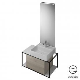 Burgbad Junit Badmöbel-Set Keramik-Waschtisch inkl. Waschtischunterschrank und Spiegel Front eiche flanell dekor / Korpus eiche flanell dekor