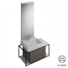 Burgbad Junit Badmöbel-Set Keramik-Waschtisch inkl. Waschtischunterschrank und Spiegel Front grau hochglanz / Korpus grau hochglanz