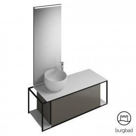 Burgbad Junit Badmöbel-Set Mineralguss-Waschtisch inkl. Waschtischunterschrank und Spiegel Front grau hochglanz / Korpus grau hochglanz
