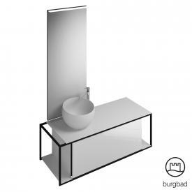 Burgbad Junit Badmöbel-Set Mineralguss-Waschtisch inkl. Waschtischunterschrank und Spiegel Front weiß hochglanz / Korpus weiß hochglanz