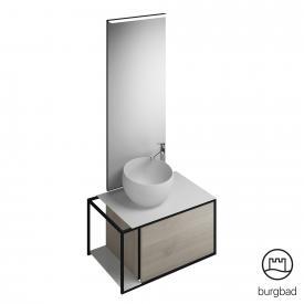 Burgbad Junit Badmöbel-Set Mineralguss-Waschtisch inkl. Waschtischunterschrank und Spiegel Front eiche flanell dekor / Korpus eiche flanell dekor
