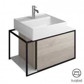 Burgbad Junit Keramik-Waschtisch inkl. Waschtischunterschrank mit 1 Auszug Front eiche flanell dekor / Korpus eiche flanell dekor