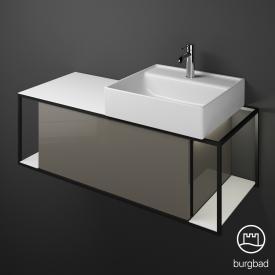 Burgbad Junit Keramik-Waschtisch inkl. Waschtischunterschrank mit LED-Beleuchtung mit 1 Auszug Front grau hochglanz / Korpus grau hochglanz