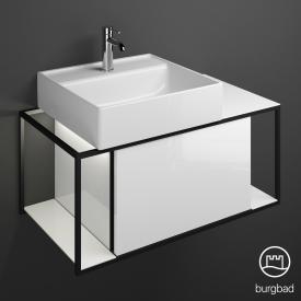 Burgbad Junit Keramik-Waschtisch inkl. Waschtischunterschrank mit LED-Beleuchtung mit 1 Auszug Front weiß hochglanz / Korpus weiß hochglanz