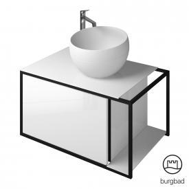 Burgbad Junit Mineralguss-Waschtisch inkl. Waschtischunterschrank mit 1 Auszug Front weiß hochglanz / Korpus weiß hochglanz