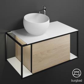 Burgbad Junit Mineralguss-Waschtisch inkl. Waschtischunterschrank  mit LED-Beleuchtung mit 1 Auszug Front eiche cashmere dekor / Korpus eiche cashmere dekor