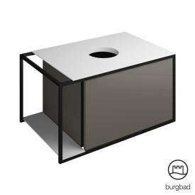 Burgbad Junit Waschtischunterschrank mit 1 Auszug für Aufsatzwaschtisch Front grau hochglanz / Korpus grau hochglanz