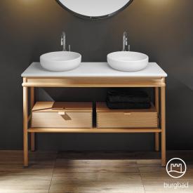 Burgbad Mya 2 Aufsatzwaschtische mit Waschtischunterschrank, 2 Schubladen Front eiche natur/Korpus eiche natur/Waschtisch weiß samt