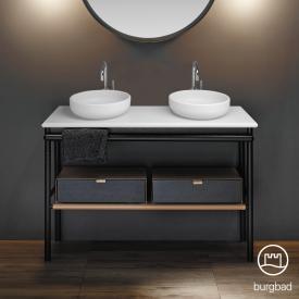 Burgbad Mya 2 Aufsatzwaschtische mit Waschtischunterschrank B: 120 cm, 2 Schubladen Front eiche schwarz/Korpus eiche schwarz/Waschtisch weiß samt
