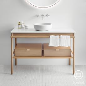 Burgbad Mya Aufsatzwaschtisch mit Waschtischunterschrank B: 120 cm, 2 Schubladen Front eiche natur/Korpus eiche natur/Waschtisch weiß samt