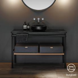 Burgbad Mya Aufsatzwaschtisch mit Waschtischunterschrank, 2 Schubladen Front eiche schwarz/Korpus eiche schwarzWaschtisch schwarz matt