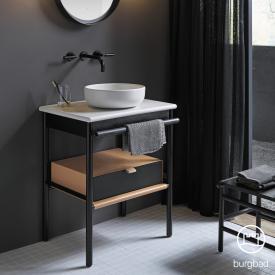 Burgbad Mya Aufsatzwaschtisch mit Waschtischunterschrank B: 65 cm, 1 Schublade Front eiche schwarz/Korpus eiche schwarz/Waschtisch weiß samt