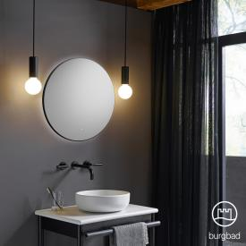 Burgbad Mya Spiegel mit umlaufendem LED-Lichtband schwarz matt