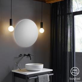 Burgbad Mya Spiegel mit umlaufendem LED-Lichtband weiß matt