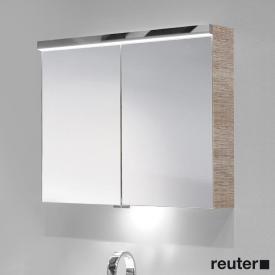 Burgbad Oteo Spiegelschrank mit LED-Beleuchtung mit 3 Türen Front verspiegelt/Korpus eiche naturbeige wellenschlag