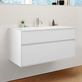 Burgbad RC40 Solitaire Mineralguss-Waschtisch mit Waschtischunterschrank mit 1 Auszug Front weiß matt / Korpus weiß matt, Waschtisch weiß