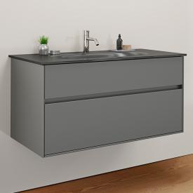 Burgbad RC40 Solitaire Glas-Waschtisch mit Waschtischunterschrank mit 2 Auszügen Front dunkelgrau matt / Korpus dunkelgrau matt, Waschtisch dunkelgrau matt