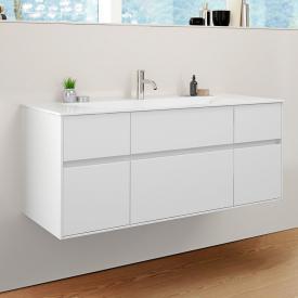 Burgbad RC40 Solitaire Mineralguss-Waschtisch mit Waschtischunterschrank mit 5 Auszügen Front weiß matt / Korpus weiß matt, Waschtisch weiß
