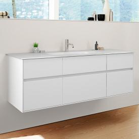 Burgbad RC40 Solitaire Glas-Waschtisch mit Waschtischunterschrank mit 5 Auszügen Front weiß matt / Korpus weiß matt, Waschtisch weiß matt