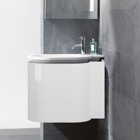 Burgbad RC40 Solitaire Mineralguss-Waschtisch mit Waschtischunterschrank mit 1 Klappe Front weiß hochglanz / Korpus weiß hochglanz, Waschtisch weiß