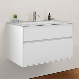 Burgbad RC40 Solitaire Glas-Waschtisch mit Waschtischunterschrank mit 2 Auszügen Front weiß hochglanz / Korpus weiß hochglanz, Waschtisch weiß hochglanz