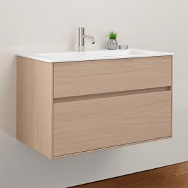 Burgbad RC40 Solitaire Keramik-Waschtisch mit Waschtischunterschrank mit 1 Auszug Front eiche authentic / Korpus eiche authentic