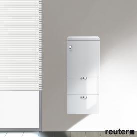Burgbad Sinea halbhoher Schrank mit 1 Tür und 2 Schubladen Front weiß hochglanz / Korpus weiß glänzend