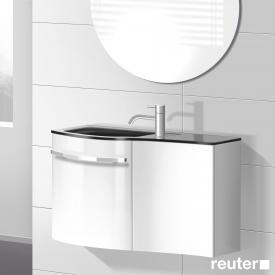 Burgbad Sinea Handwaschbecken mit Waschtischunterschrank mit 2 Türen Front weiß hochglanz/Korpus weiß glänzend/Waschtisch schwarz