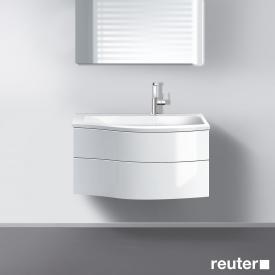 Burgbad Sinea Waschtisch mit Waschtischunterschrank mit 2 Auszügen Front weiß hochglanz/Korpus weiß glänzend/Waschtisch weiß