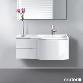 Burgbad Sinea Waschtischunterschrank mit 1 Auszug, 2 Schubladen und 1 Waschtisch Front weiß hochglanz/Korpus weiß glänzend/Waschtisch weiß
