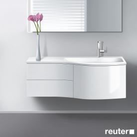 Burgbad Sinea Waschtischunterschrank mit Waschtisch, 1 Auszug und 2 Schubladen Front weiß hochglanz/Korpus weiß glänzend/Waschtisch weiß