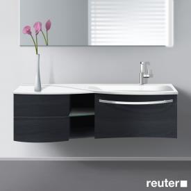 Burgbad Sinea Waschtischunterschrank mit Waschtisch, 1 Auszug, 1 Regal und 2 Schubladen Front hacienda schwarz/Korpus hacienda schwarz/Waschtisch weiß