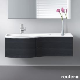 Burgbad Sinea Waschtischunterschrank mit 1 Auszug, 2 Schubladen und 1 Waschtisch Front hacienda schwarz/Korpus hacienda schwarz/Waschtisch weiß