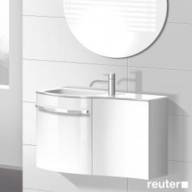Burgbad Sinea Waschtischunterschrank mit 2 Türen und 1 Glas-Waschtisch Front weiß hochglanz/Korpus weiß glänzend/Waschtisch weiß