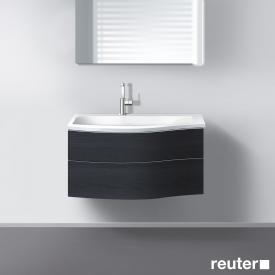 Burgbad Sinea Waschtischunterschrank mit Waschtisch und 2 Auszügen Front hacienda schwarz/Korpus hacienda schwarz/Waschtisch weiß