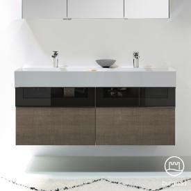 Burgbad Yumo Doppelwaschtisch mit Waschtischunterschrank mit 4 Auszügen Front eiche graubraun wellenschlag/bronze/Korpus eiche graubraun wellenschlag, Waschtisch weiß samt